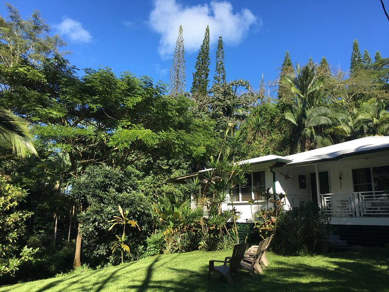 Enjoy the beauty of a organic farm and three bedroom redwood home set in a lush tropical jungle!