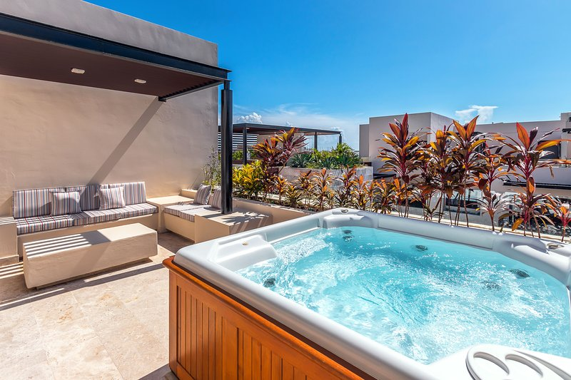 Your private roof deck with Jacuzzi