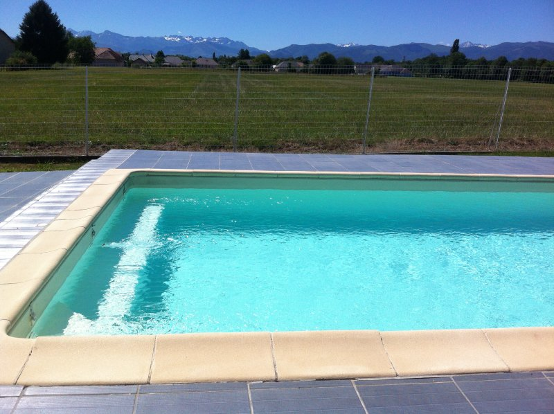 Swimming pool with panoramic views of the Pyrenees