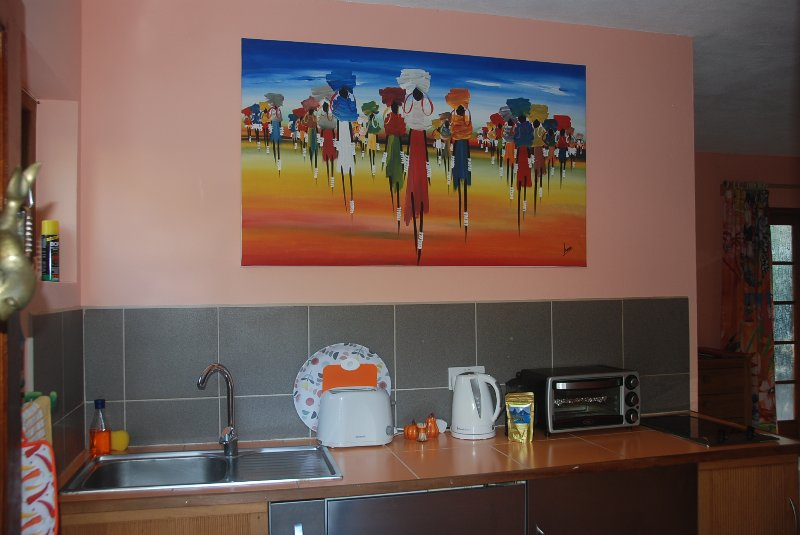 A fully equipped kitchen with an African scene