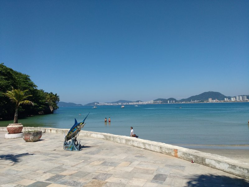 View of Tortuga Beach at the end of the beach of the Bay, the most beautiful by the sun of the island.