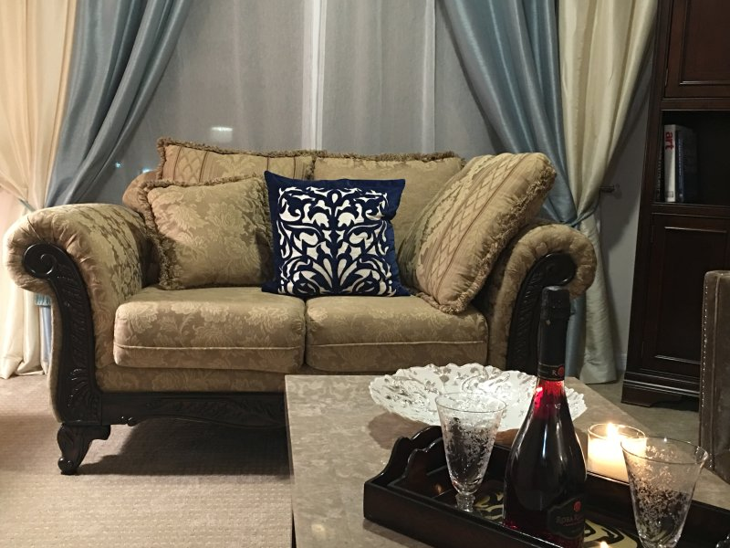 VERY COMFORTABLE LIVING ROOM AND DESIGN FURNITURE AND MARBLE TABLE WITH A SPECIAL TREAT FROM OWNER !