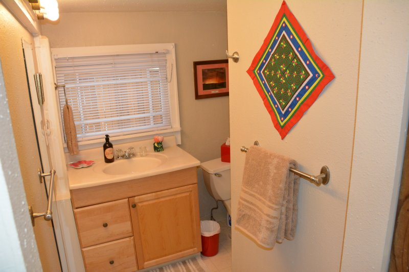 Bathrooom with good size counter and standing mirror to the left of the sink.