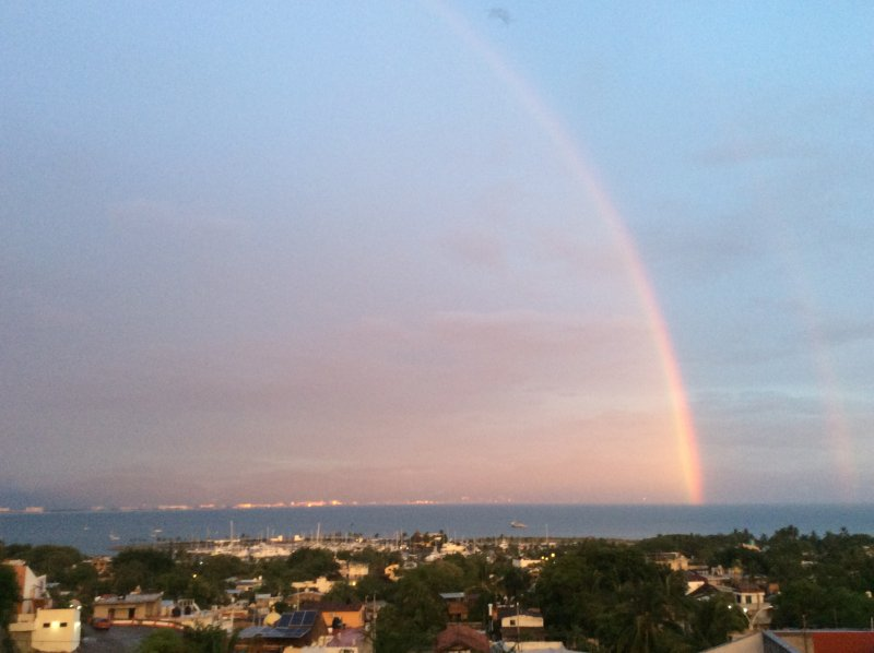 Double rainbow over Banderas Bay view from the Penthouse