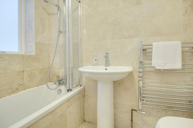 Cuarto de baño con ducha en el baño y aseo
