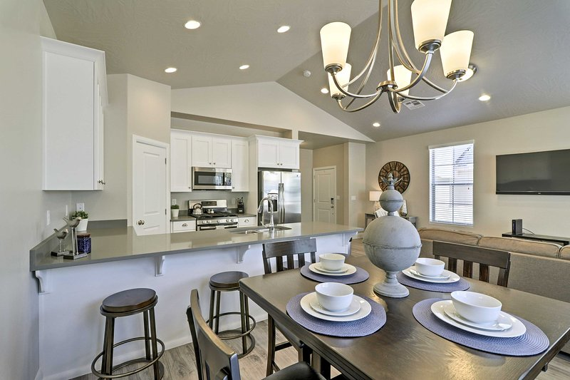 This newly built home features upscale amenities and chic decor that's sure to impress.