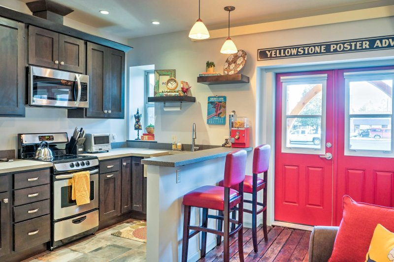 The tastefully appointed kitchen is fully equipped with all your cooking needs.