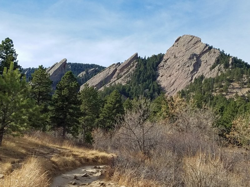 Views of the Flatirons from the Mesa trail at Chautuaqua.