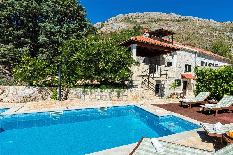 Rustic villa with pool and sea view, vacation rental in Mlini