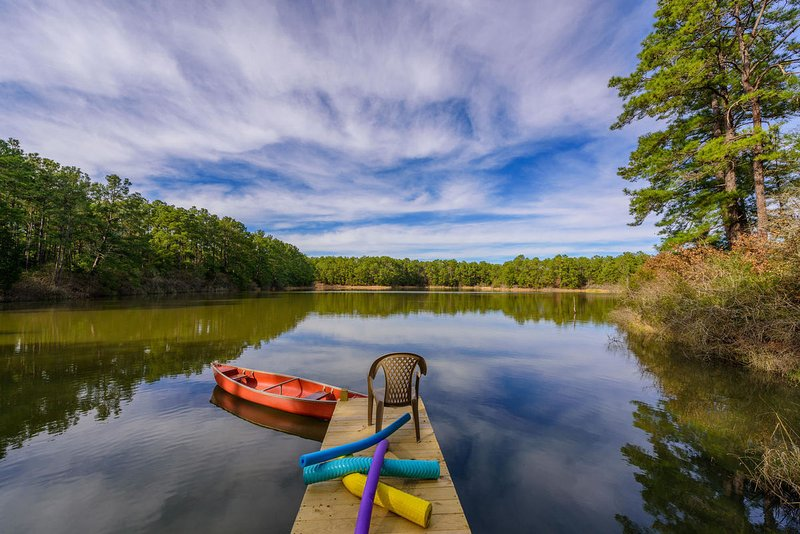 15 acre private lake!  Canoe, swim, fish or float on the dock