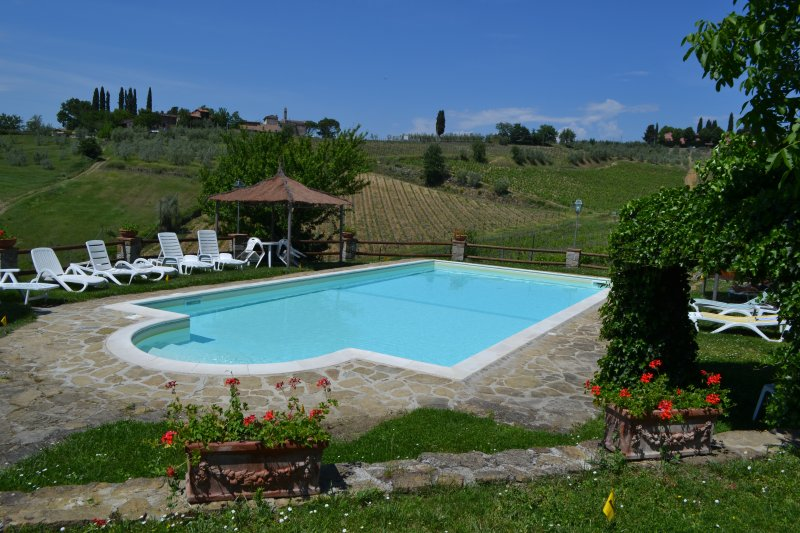 PISCINA panoramica con vista su Greve e sul Borgo di Montefioralle  vicina all'APPARTAMENTO CECILIA