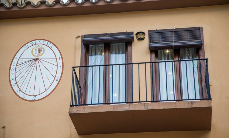 Balcony, outside and town center