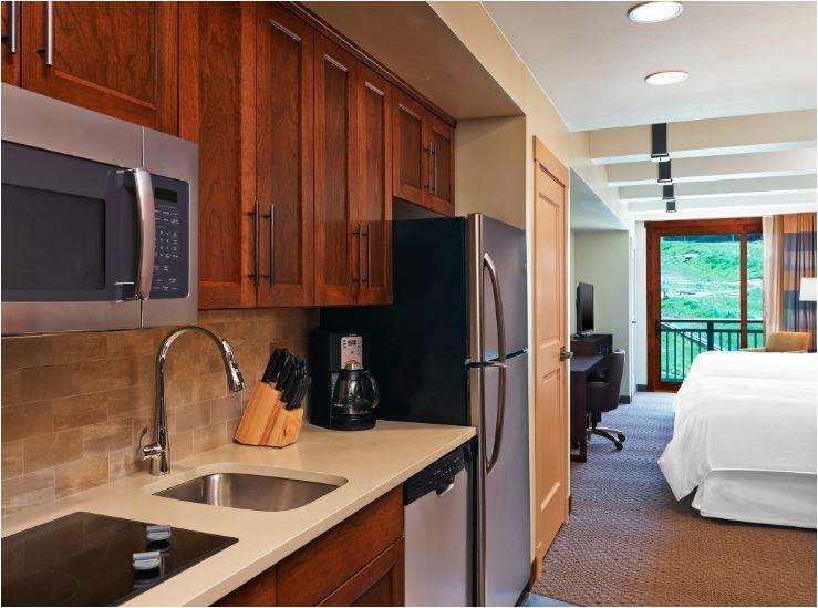 Sheraton Steamboat Studio Kitchen and Bedroom