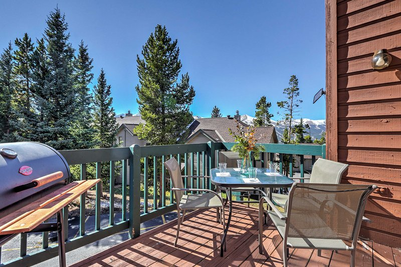 Admire spectacular views from the private deck during your stay at this 4-bedroom, 3-bathroom vacation rental condo in Breckenridge!