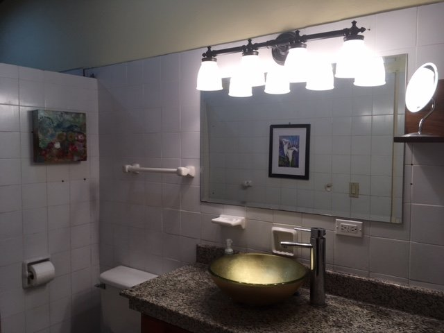 The guest bathroom features granite counter space, great lighting and a very spacious rain shower.