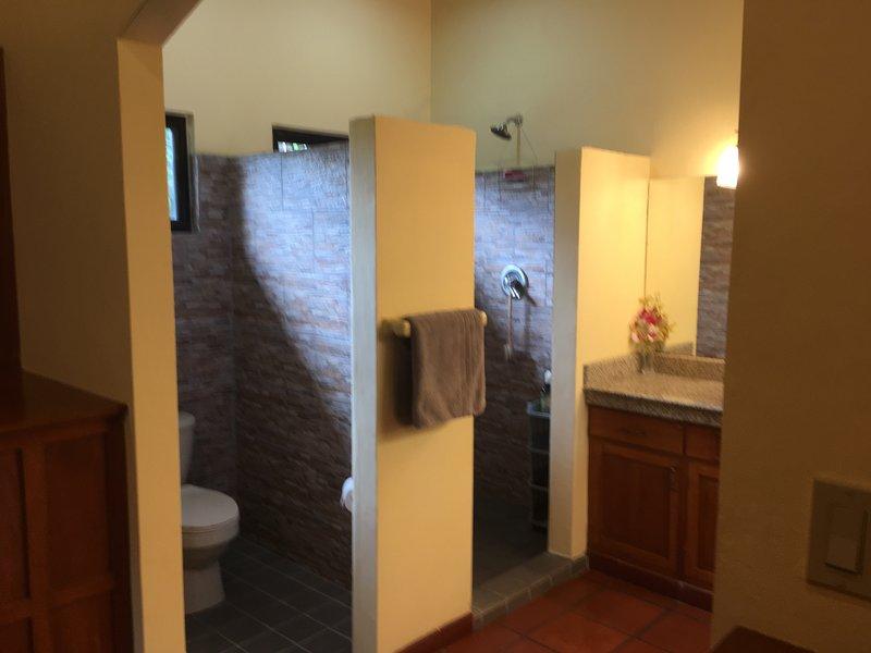 espaciosa ducha de lluvia en el baño principal.