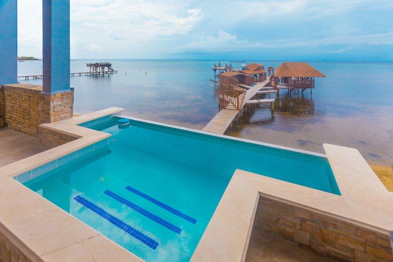 Relájese en la piscina con vista al mar.