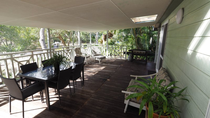 Extra large front deck with BBQ and eating area.  Ideal for all seasons.  Overlooks Morwong Beach.