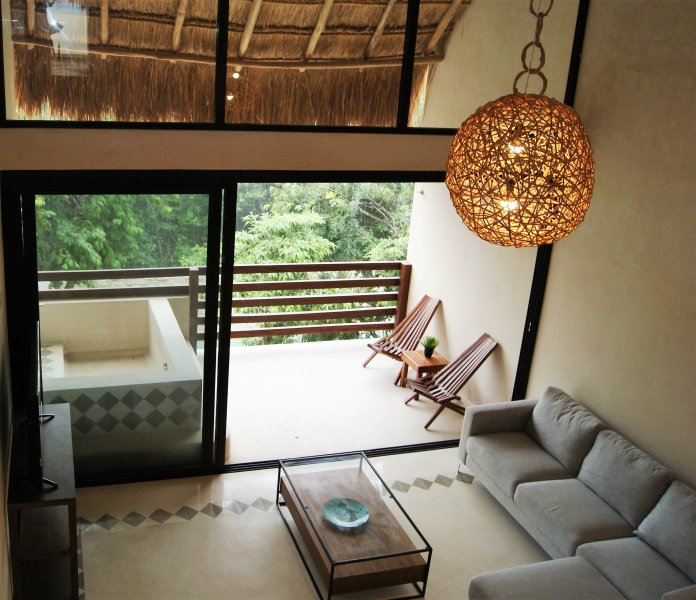 Living Room with private pool and double height ceilings - Trip Advantages AZ303