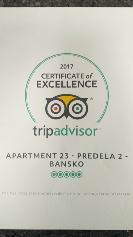 Certificate of Excellence from TripAdvisor.