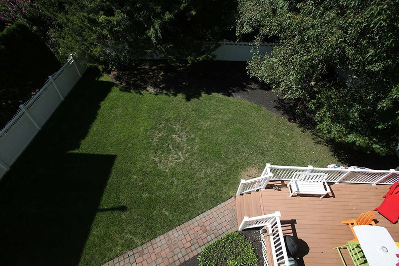 Aerial view of backyard