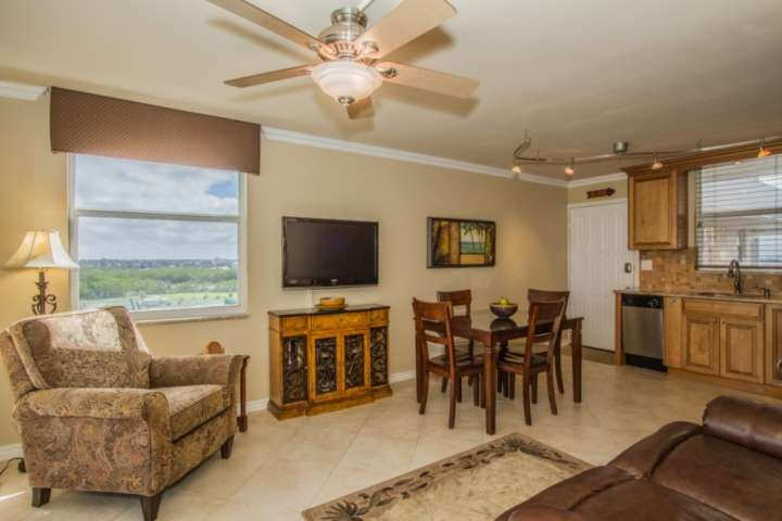 Open concept studio condo is complete with large screen wall mounted TV and cable package.