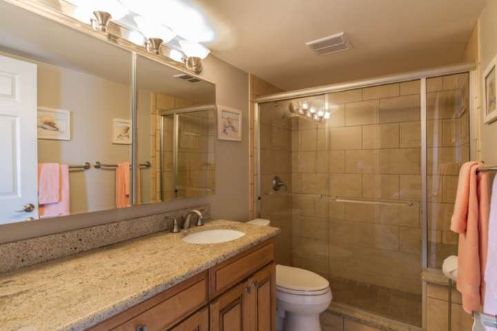 Luxurious glass & tile walk in shower, granite counters, ungraded cabinets & expansive mirrors in the spa like bathroom.