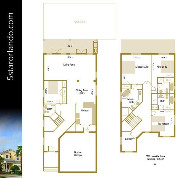 5 Star Orlando floorpan - fast 3000 sq ft von Raum und ein großes offenes Layout