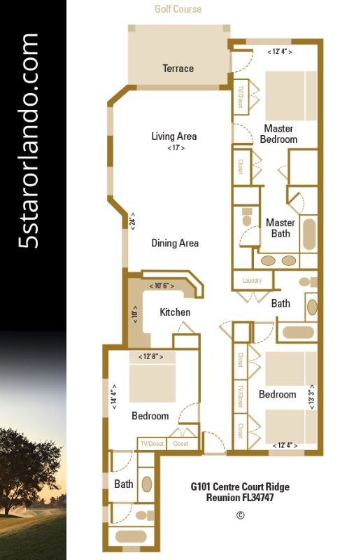 5 Star Orlando's award-winning 3 bed condo has almost 1700 sq ft of space and a superb location