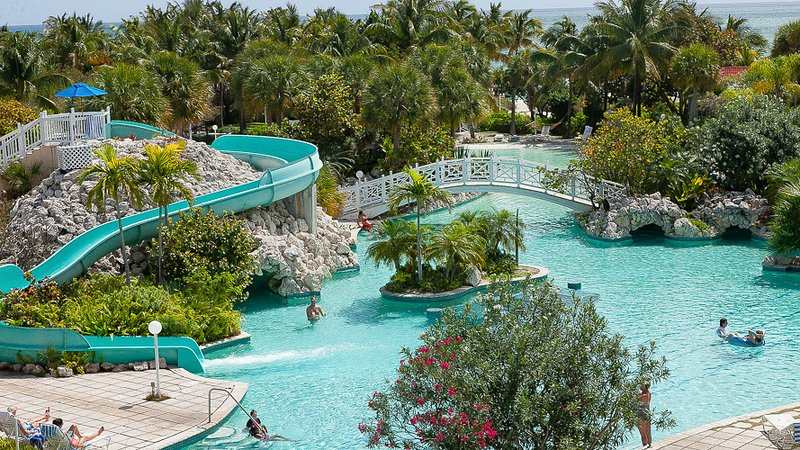 big pool with slide