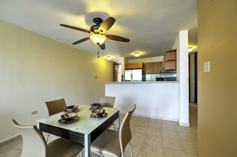 Enjoy delicious home cooked meals gathered around this quaint dining table.