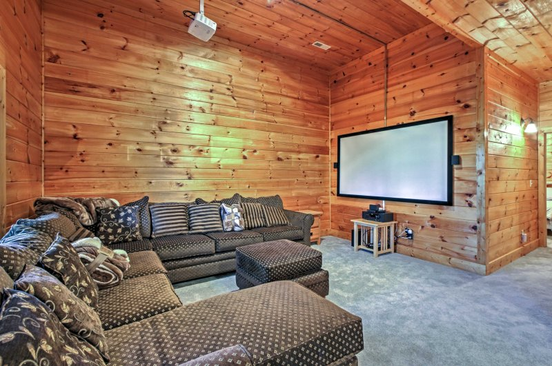 The whole crew can enjoy movie nights in the theater room!