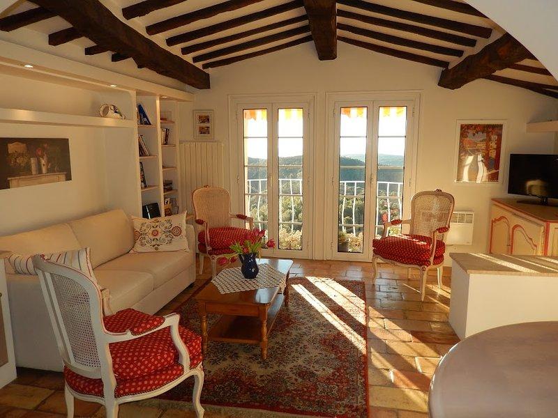 salon confortable avec une vue imprenable depuis les balcons Juliette