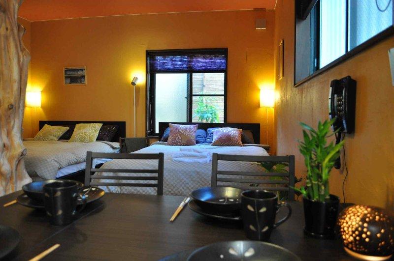 O nosso alojamento mais popular, a Suite de bambu, com revestimento de bambu verdadeira