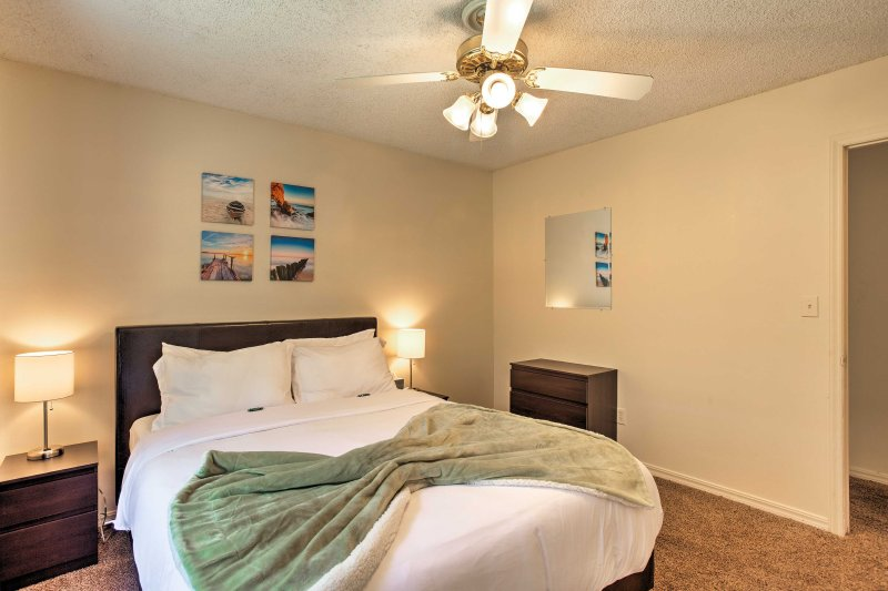 Ceiling fans add extra comfort on hot summer nights.