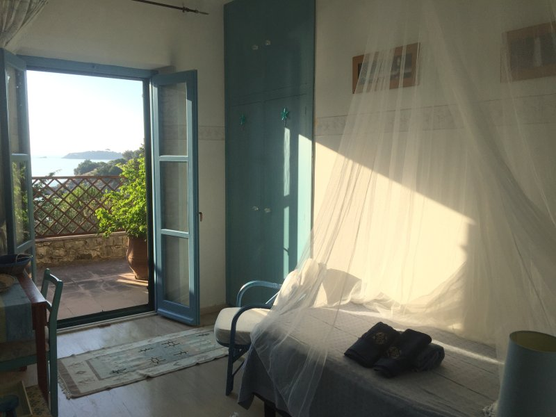 Bedroom 3/5: Single bed, desk, direct access to terrace, shared shower room.