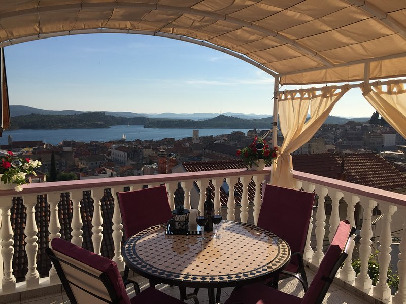 Amazing  view  of the city Šibenik and sea