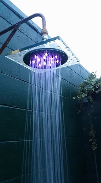 outdoor shower with lights