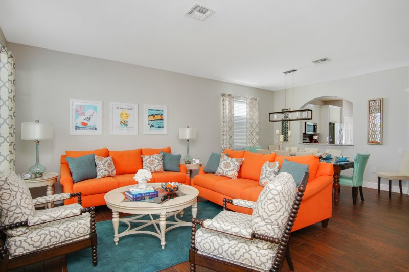 Living room with comfortable seating for 8