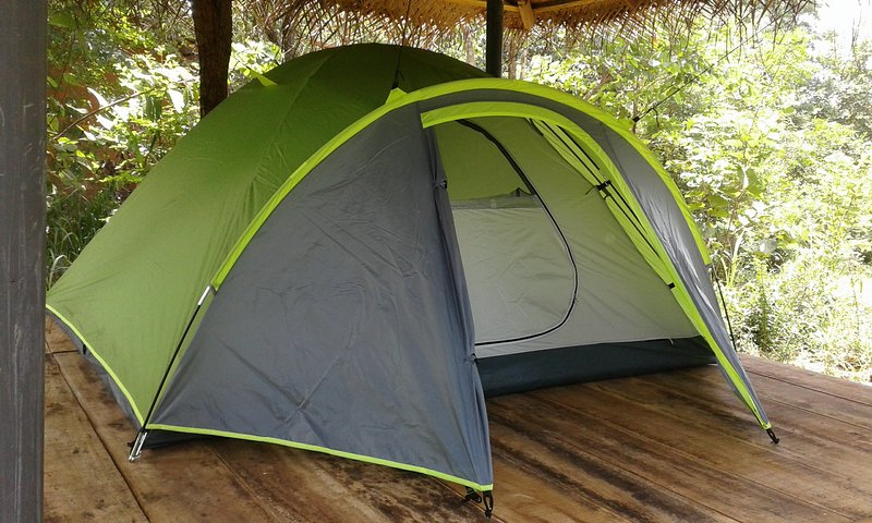 The camping tent, equipped with a double metres pillows and bed linen.