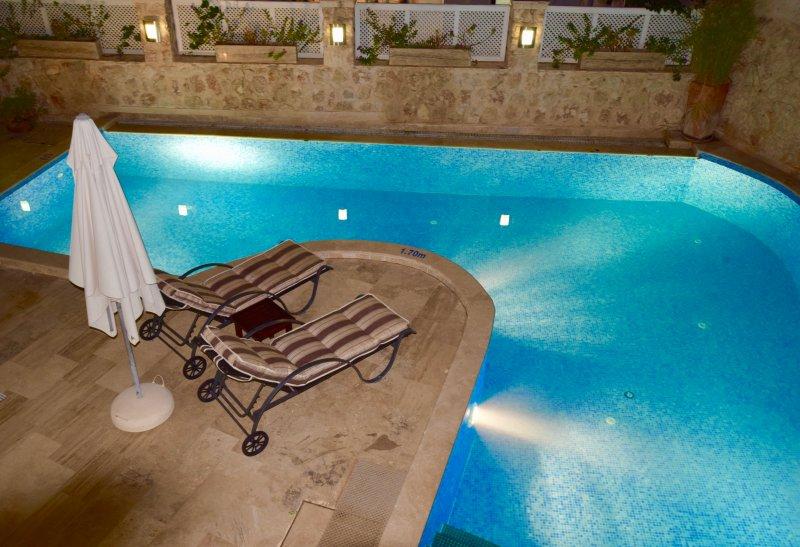 piscine principale et terrasse la nuit