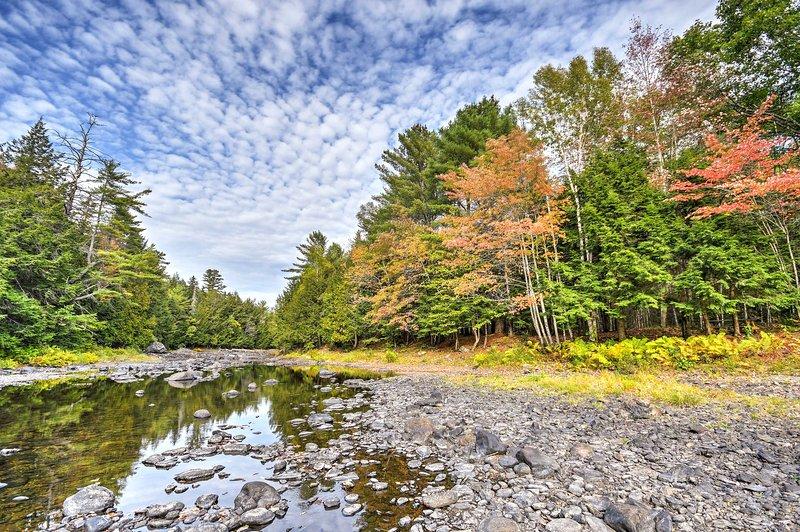 Situato su una fattoria di alberi, il cottage offre 1.700 piedi lungo il fiume Union.