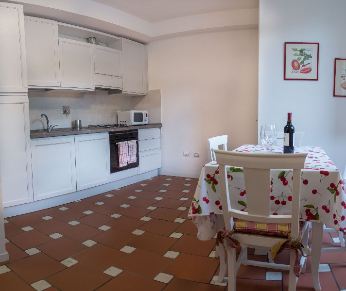 Fully euipped kitchen with microwave, Oven washing dishes.
