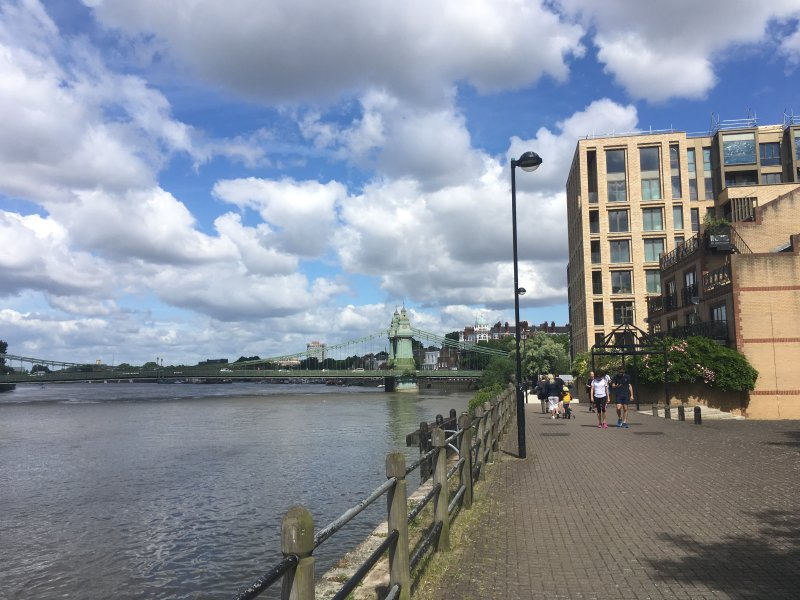 View of Hammersmith bridge and Queens Wharf