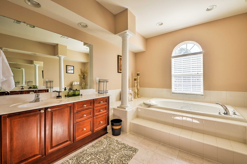 Enjoy a morning soak in the large tub.