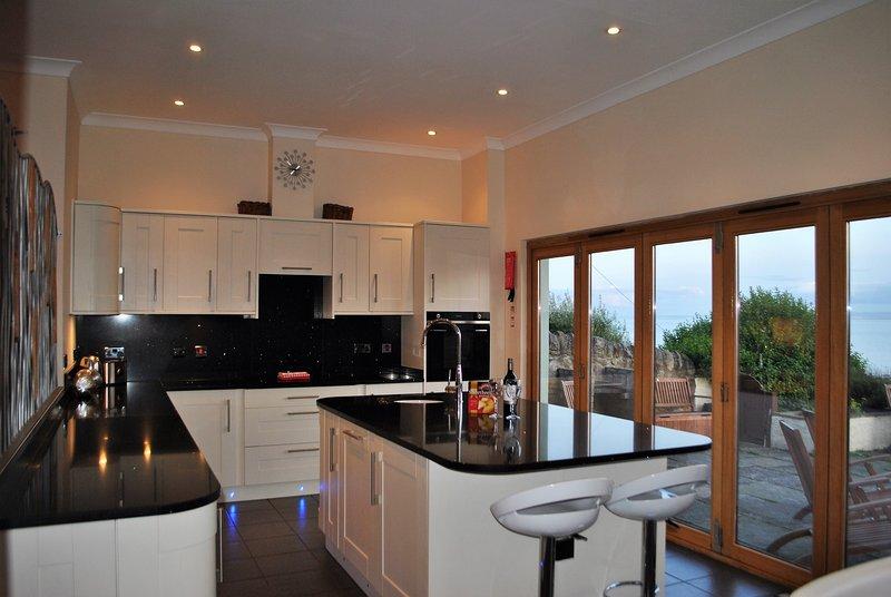 A cozinha moderna é elegante e um grande espaço social