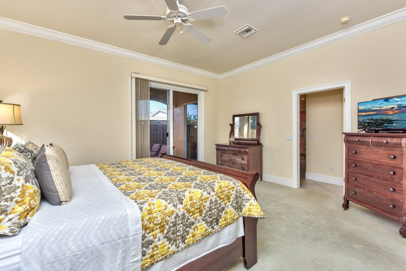 Master Bedroom With Private Entrance to Pool Area;