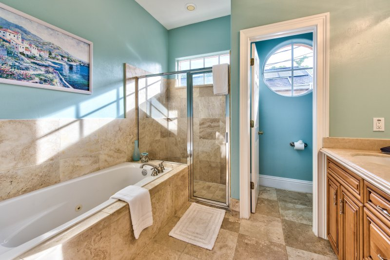 Master Bathroom With Tub And Walk In Shower;