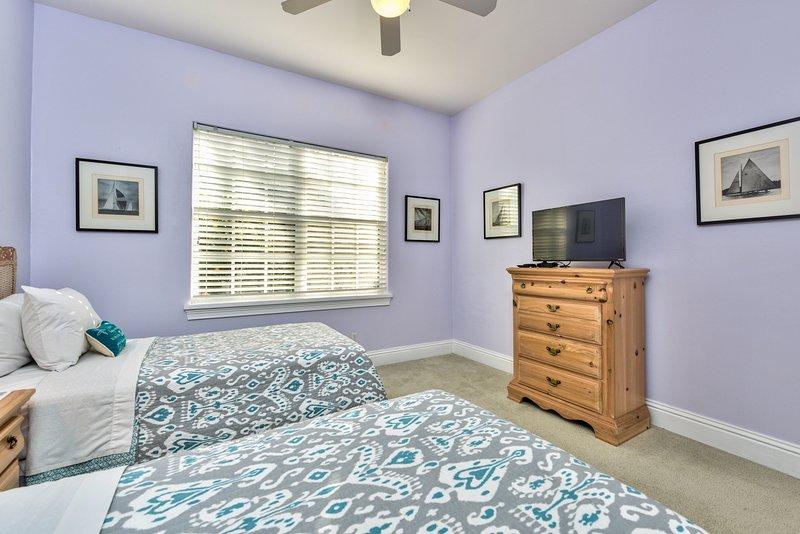 Twin Bedroom With Flat Screen TV; Fan;