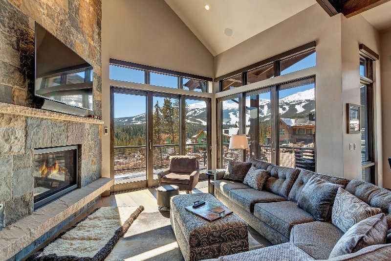 Living area with view of ski resort